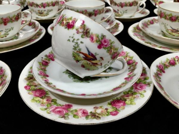 Victoria Austria China Bird Of Paradise Tea Set For 10 People / Vintage Peacock